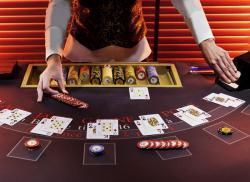 croupier cartes jetons black jack table